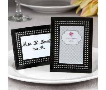 4188 Black frosted Glass picture frame / placecard holder