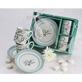 "A92018 ""Expressions of Love"" Espresso Cup Favor Set (In White)"