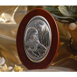 RL160 Italian Silver Holy Family icon on a wood stand