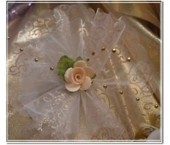 Organza circle with gold swirls and glitter
