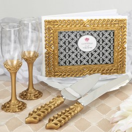 2530 Gold lattice botanical collection set, consisting of a cake knife set, a flute set and a guest book