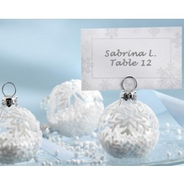 """27023NA """"Snow Flurry"""" Flocked Glass Ornament Place Card/Photo Holder (Set of 6)"""