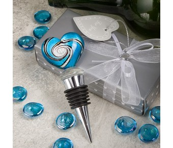 2102 Stunning Murano Heart Design Wine Bottle Stoppers