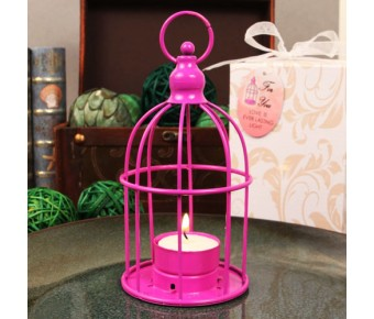 "RB1147 ""Love in a Cage"" Hot Pink Bird Cage Shaped Steel Lantern with Tea Light Candle"