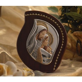 RL2700Italian Silver Holy Family icon on a wood stand