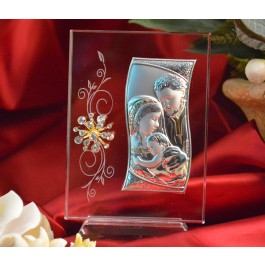 RL460V Italian Silver Holy Family icon on a glass stand