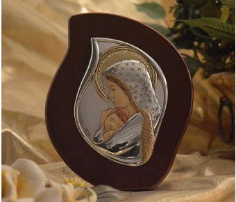 RL2200 Italian Silver Mother and Child icon on a wood stand