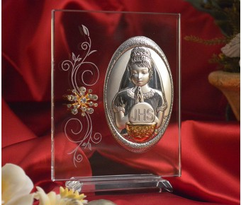 RL140V Italian Silver First Communion Girl icon on a glass stand