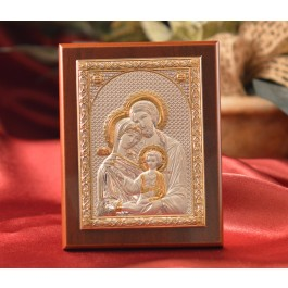 RL1560 Italian Silver Greek Orthodox Holy Family icon on a wood stand