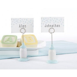 25246BL Classic Blue Baby Bottle Place Card Holder (Set of 6)
