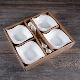 Set of 4 White Ceramic Bowls and spoons by myitalianfavors.com
