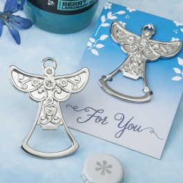 5276 Guardian Angel design silver metal bottle opener