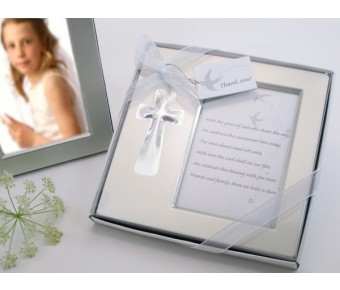 "A11006 ""Bless this Day"" Cross Photo Frame Favor in Gift Box"