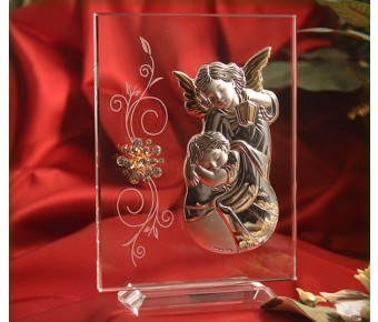 RL250V Italian Silver Guardian Angel icon on a glass stand