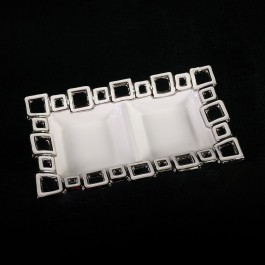 White Ceramic 2 section Dish with Silver squares by myitalianfavors.com
