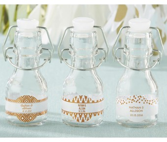 27079NA-NRB Personalized Mini Glass Favor Jars - Rustic Charm Baby Shower (Set of 12)