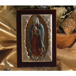 RL395 Italian Silver Icon Our Lady of Guadalupe on a wood stand