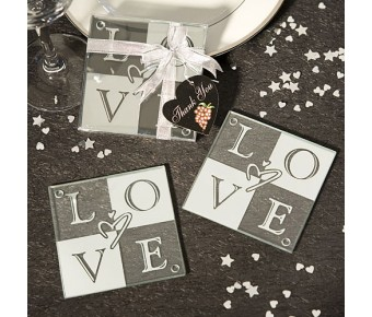 3975 Love Glass Coasters (Set Of 2)
