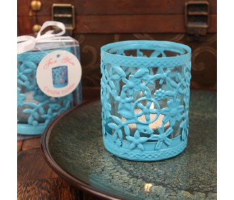"RB1137 ""Glowing Garden"" Blue Steel Candle Holder with Glass Cup and Tea Light Candle"
