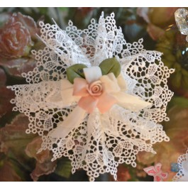 AF525 Italian Doily Favor Bomboniere with Capodimonte Rose