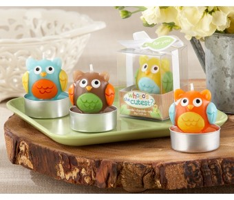 "20151AS ""Whooo's the Cutest"" Baby Owl Candle (Set of 4) (Assorted)"