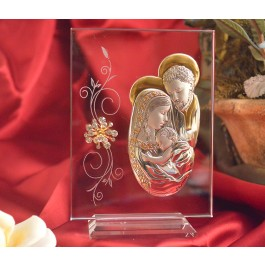 RL260V Italian Silver Holy Family icon on a glass stand