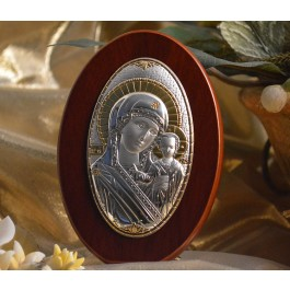 RL180 Italian Silver Greek Orthodox Mother Mary icon on a wood stand