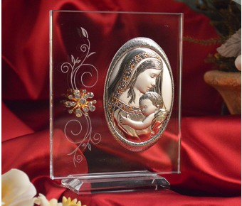 RL170V Italian Silver Argento Mother Child Icon on glass stand