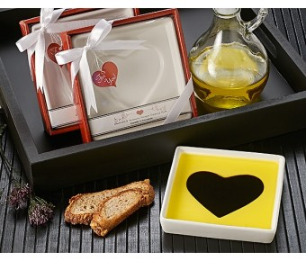"""A93010 """"Love Infused"""" Olive Oil and Balsamic Vinegar Dipping Plate"""