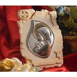 RL800Italian Silver Mother & Child icon on a Marble dust texture stand