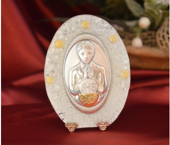 63MUR Made in Italy First Communion Boy on a Murano Glass Stand