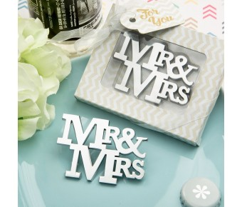 4246 On trend Mr & Mrs Silver metal bottle opener