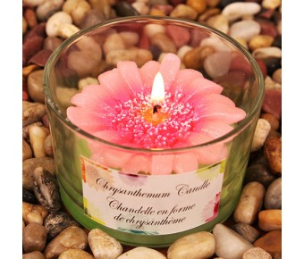 """RB7851PK """"Colorful Chrysanthemums"""" Pink Colored Flower Shaped Scented Candle"""