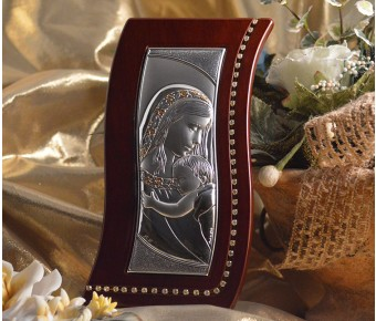 RL600 Large Italian Silver Mother and Child icon on a wood stand