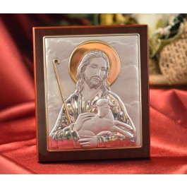 RL397 Italian Silver Icon Good Shepherd on a wood stand