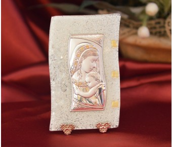87MUR Made in Italy Mother and Child on a Murano Glass Stand