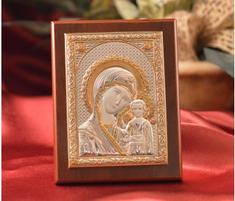 RL1520 Italian Silver Greek Orthodox Our Lady of Kazan icon on a wood stand