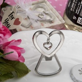 4250 Heart shaped silver metal bottle opener with dangling heart design