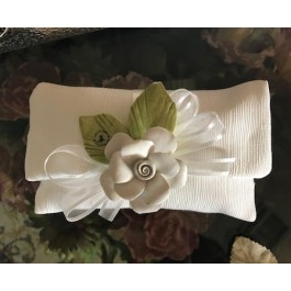 HC165 Haute Couture Envelope Wedding favors Bomboniere with Capodimonte Flower