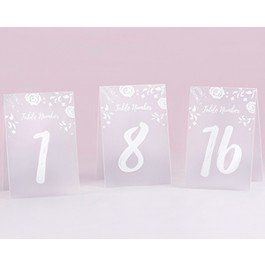 18122NA White Frosted Floral Tented Table Numbers (1-18)