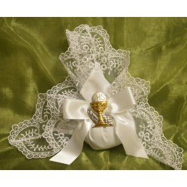 AF1520 Doily bag with Silver Chalice, Almond Favors, Wedding Favors Bomboniere, Italian favors