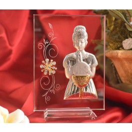 RL240VItalian Silver First Communion Girl icon on a glass stand