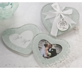 "A51027 ""Heartfelt Memories"" Frosted Heart Photo Coasters (Set of 2)"
