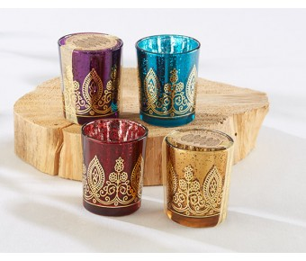20177NA Indian Jewel Henna Votives - Assorted (Set of 4)