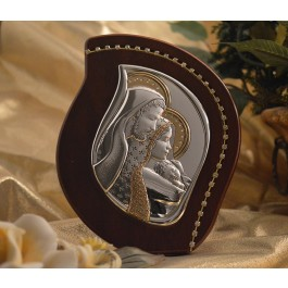 RL2500 Italian Silver Holy Family icon on a wood stand