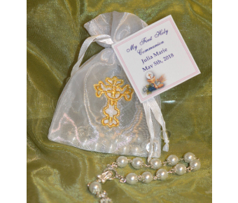 AF1536 Organza pouch with cross and decade rosary