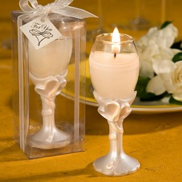 8150 Double Heart Design  Champagne Flute Candle Holders