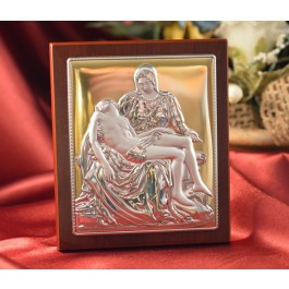 RL398 Italian Silver Icon Michelangelo's Pieta on a wood stand