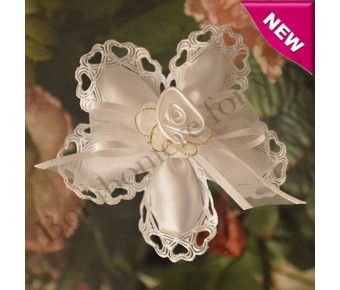 CF105 Italian Confetti Flower with Hearts and Satin Flower