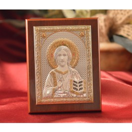 RL1500 Italian Silver Greek Orthodox Pantocrator Christ icon on a wood stand